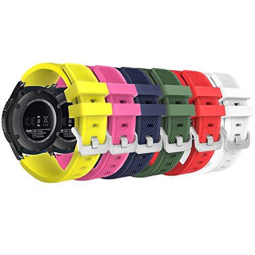 MoKo Armband Kompatibel mit Galaxy Watch 3 45mm/Galaxy Watch 46mm/Gear S3 Frontier/Classic/Huawei Watch GT2 Pro/GT2e/GT 46mm/GT2 46mm/Ticwatch Pro 3, 22mm 6X Silikon Sportarmband, Multicolor C