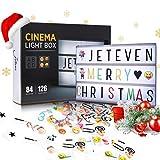 Jeteven Boîte Lumineuse avec 210 Lettres Coloris Cinéma Boîte Lumineuse A4...