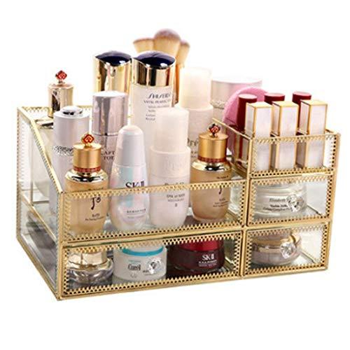 Household Necessities/glas cosmetica rek van helder glas cosmeticaspiegel opbergdoos voor meisjes beste geschenk laden huisverzorging kantoor lippenstift 32X19X18CM Goud