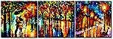 CUFUN Art - Impresiones de la Pintura del Arte Abstracto Gris y Amarillo en la decoración de la Pared de la Lona para la Oficina casera de la Sala de Estar 30x30cmx3pcs