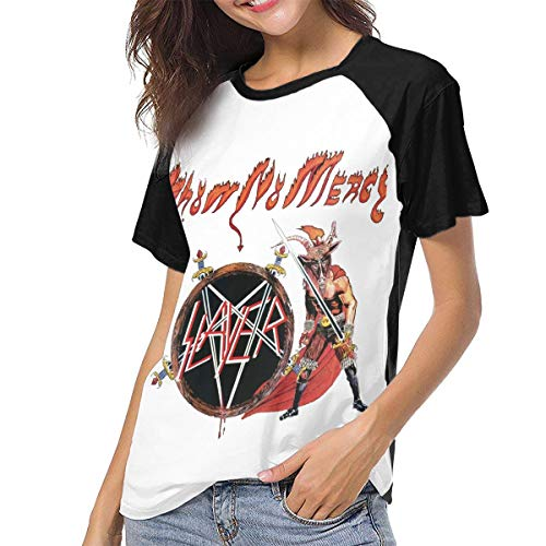 RonaldAMaurer Womens Baseball T-Shirts Slayer Show No Mercy Sport Tee Black M
