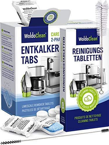 Pflegeset Kaffeevollautomat mit Entkalkungstabletten, Reinigungstabletten - Reinigungsbürste und Steigrohr