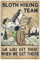 2個 怠惰なハイキングチームメタルティンサインカフェホームファームスーパーマーケットバーパブガレージホテルダイナーモールガーデンドアホームキッチンハンギングアートワークプラークウォールアート装飾サイン8インチ×12インチのヴィンテージサイン メタルプレート レトロ アメリカン ブリキ 看板