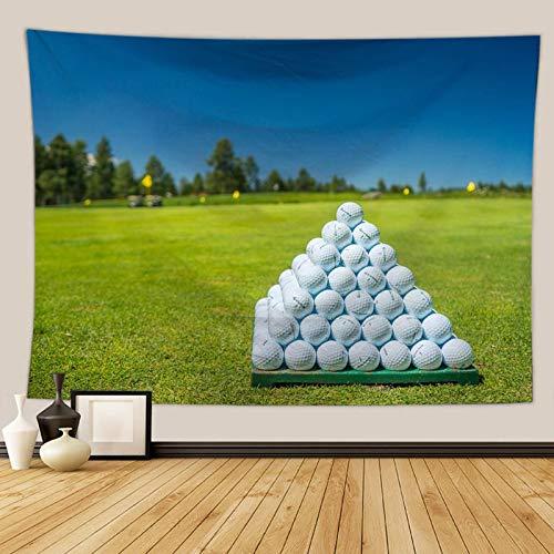 Beydodo Tapices Indios Bolas de Golf en Hierba Blanco Verde Azul Tapicería Tela Poliéster Talla 180x200CM