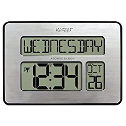 La Crosse Technology 513-1419BLv4-INT Backlight Atomic Full Calendar Clock with Extra Large Digits - Perfect Gift for the Elderly