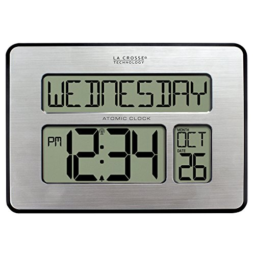 La Crosse Technology 513-1419BLv4-INT Backlight Atomic Full Calendar Clock with