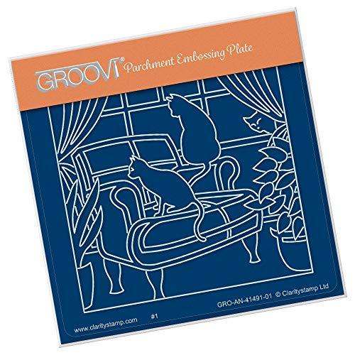 Clarity Postzegels - Katten op een Club stoel A6 Square Groovi Plate