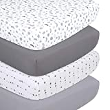 The Peanutshell Grey Moon & Stars Fitted Crib Sheet Set, 4 Pack Celestial Print, Grey & White
