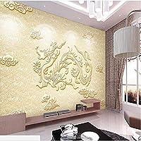 Ljjlm カスタマイズされた大規模な壁画レリーフレリーフドラゴン壁壁画縁起の良い雲背景壁壁紙-350X230Cm