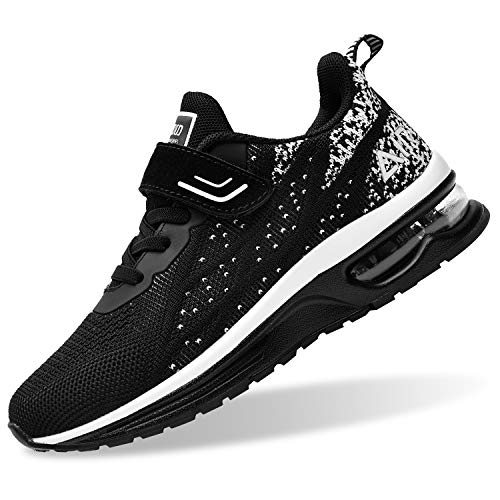 PERSOUL Air Shoes for Boys Girls Kids Children Tennis Sports Athletic Gym Running Sneakers (Black Size 4 Child)