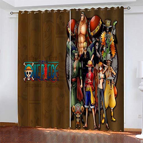 Meer 2er-Set Verdunkelungs Vorhang,Anime One Piece Ruffy Kinder Gardinen Ösen Gardine Thermo Polyester Schlafzimmer Vorhänge Dekoratives Muster Européen 138 x 234 cm (HxB)