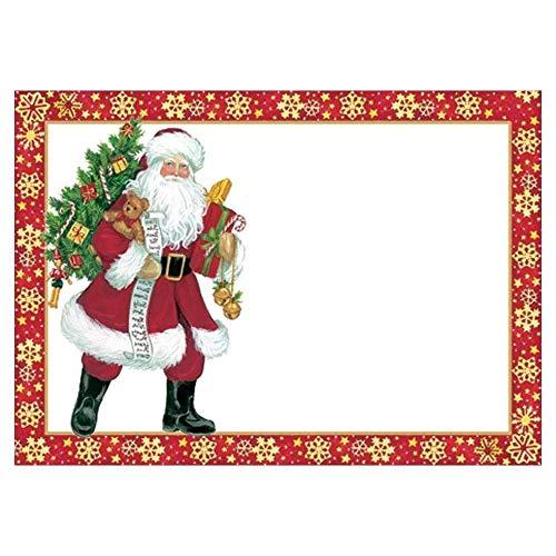 Caspari Christmas Santa Self-Adhesive Gift Tags, 24 Labels