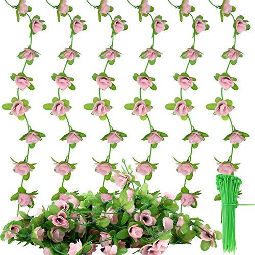 Paquete de 6 flores de vid artificiales,guirnalda de flores de seda de 2,2 m con paquete de 100 lazos para colgar para bodas,hojas artificiales para colgar falsas,plantas,decoraciones para la pared