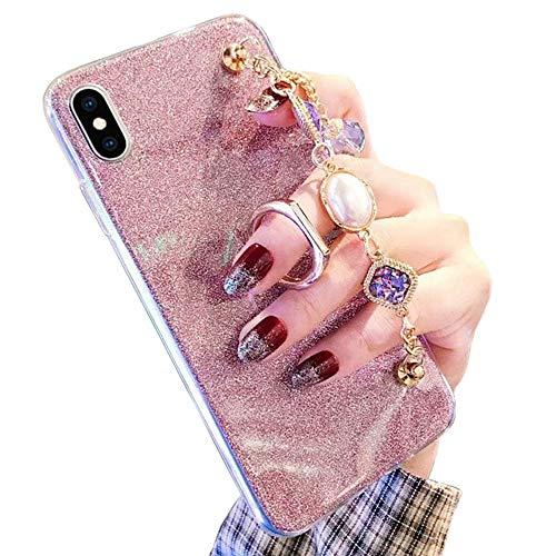 Obesky Glitter Coque pour Galaxy A20e Rose, Bling Diamant Strass Bracelet Design Souple Silicone TPU Bumper avec Support Bague Antichoc Housse Etui de Protection pour Samsung Galaxy A20e