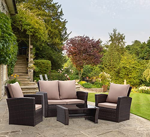 GOODS EMPORIUM 4 Seater Rattan Garden Furniture Set - Outdoor, Patio furniture, Conservatory Sofa sets - FREE COVER INCLUDED