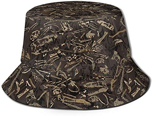 BONRI Cappello da Pescatore da Viaggio con Stampa di Dinosauro Tribale Unisex Cappello da Pescatore Estivo Cappello da Sole-Fossile di Dinosauro
