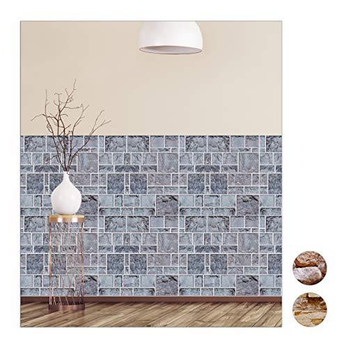 Relaxdays wandpanelen zelfklevend, set van 10, decoratieve steen-look, 3D-panelen, tegels, PVC stenen wand, 50x50 cm, grijs