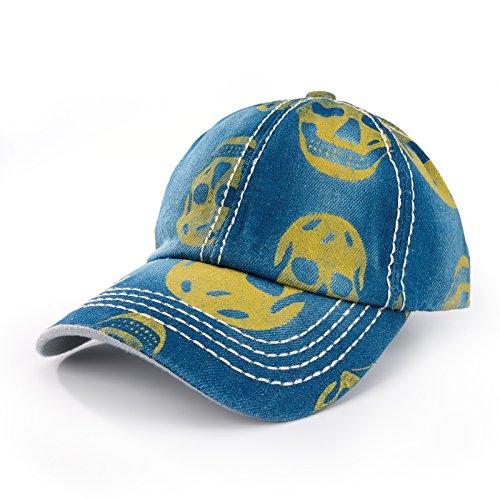 Gorra de béisbol con visera vaquera, estilo hip-hop negro Blue Yellow (Ropa)