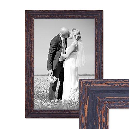 PHOTOLINI Vintage Bilderrahmen 30x42 cm/DIN A3 Holz Dunkelbraun Shabby-Chic Massivholz mit Glasscheibe und Zubehör/Fotorahmen/Nostalgierahmen