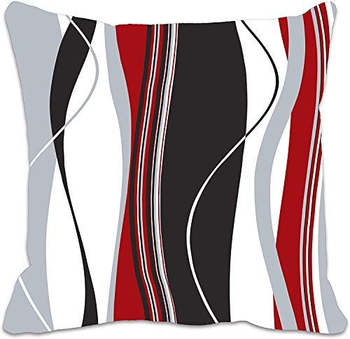 MDEIMAT Ondulato Verticale Strisce Rosso Nero Nero Grigio e Bianco Cuscino Cuscino Copri Cuscino per Divano Soggiorno 18x18 Pollici