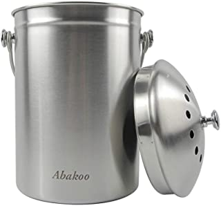Abakoo Compost Bin 304 Stainless Steel Kitchen Composter Waste Pail Indoor Countertop Kitchen Recycling Bin Pail - Include...