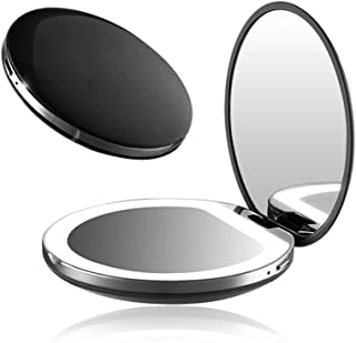 zroven 1X/3X Magnifying Lighted Makeup Mirror Light Mini Round Portable LED Make Up Mirror USB Chargeable Pocket Makeup mi...
