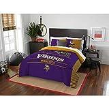 MS 3pc NFL Vikings Comforter Full Queen Set, Unisex, Team Logo Fan Merchandise Athletic Team Spirit Fan, Polyester, Purple Yellow Football Themed Bedding Sports Patterned