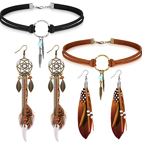 Native American Jewelry Set for Women Girls, 2 Pieces Faux Suede Choker Necklace Faux Leather Choker and 2 Pairs Bohemian Artificial Feather Earrings Boho Dream Catcher Earring Western Jewelry Set