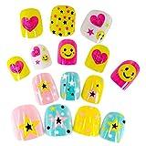 Beaupretty 44PCS Niños, uñas falsas, chicas, sonrisa, cara, prensa en las uñas para niñas