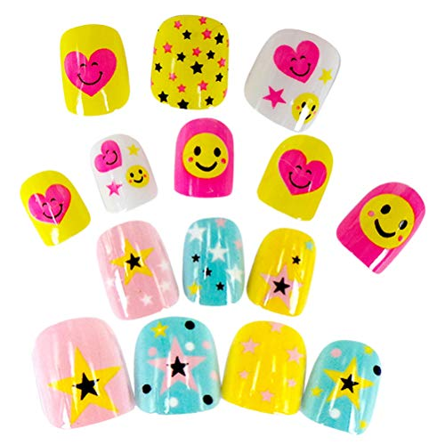 Beaupretty 44PCS Kids False Nails Mädchen Star Smile Face Press On Nails für Mädchen