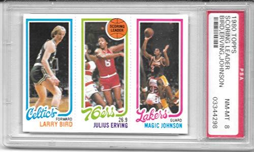 Larry Bird (rookie) Julius Erving Magic Johnson (rookie) 1979-80 Topps PSA 8-Rare Card