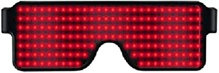 Xinvivion Rechargeable LED Glasses - Unisex Safety Luminous Sunglasses Flashing Eyeglass for Rave Party Club Dancing Halloween Christmas Birthday (Red)