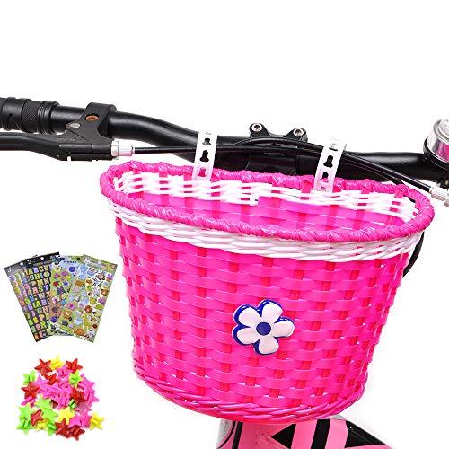 ANZOME Cesta de bicicleta para niña, manillar delantero, cesta de bicicleta para niños con campanas de bicicleta para niños, set de regalo de bricolaje, color rosa y rojo