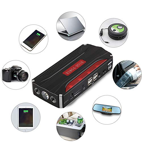 Multifunktionale 68800mAh 12V 4 USB Portable Mini Auto Starthilfe Energienbank f/ür Notstart Chargable Batterie Red /& Black