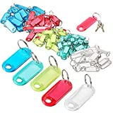 Bluelves Portachiavi Etichetta, 50 Pack Plastic Key Tags Identificativo Copri Chiave con Targhetta Etichette di Bagagli con Anelli Portachiavi per Hotel Nome Memoria, Multicolore