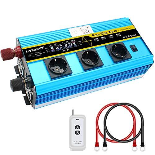 Cantonape Inverter di corrente 12 V 230 V Onda Pura 2500 W / 5000 W Schermo LCD Inverter Onda Pura Trasformatore con Telecomando e 4 Porte USB 3 prese