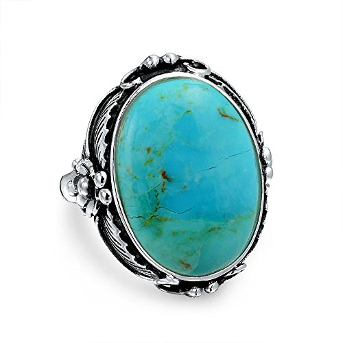 Style Hoja Óvalo Grande Piedras Preciosa Turquesa Estabilizada Boho Moonstone Anillo Para Mujer 925 Sterling