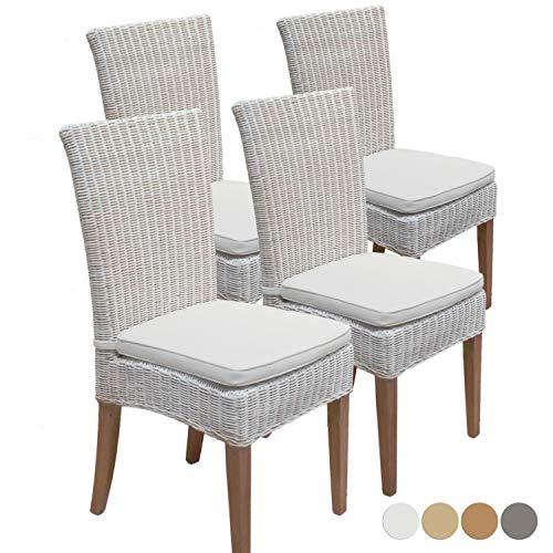 casamia Cardine - Juego de sillas de Comedor (ratán, 4 Unidades), Color Blanco