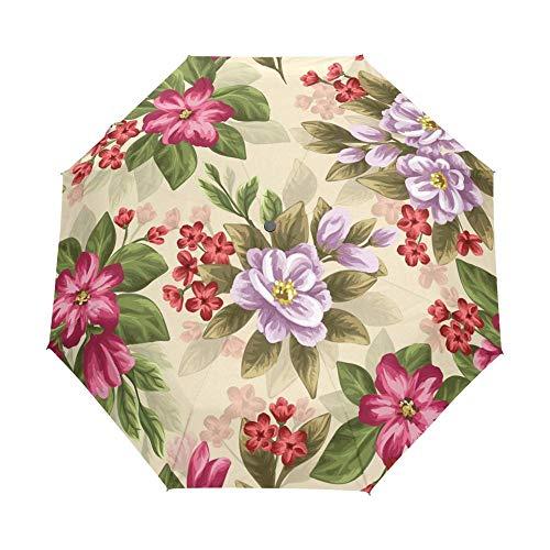 Sonnenschirm Regenschirm Frauen Blumenschirm Anti Uv Schutz Sonnenschirm Lila Damen Rucksack Vollautomatischer Regenschirm 100% Polyester wasserdichte Schokolade