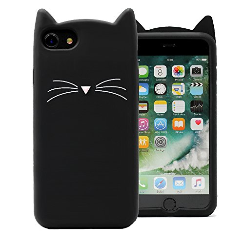 Cat iPhone 7 8 SE 2020 Case Cute Funny Kitty Design Glitter Silicone Soft Protective Cover for Girls Child for iPhone 7 8 New SE 2020 4.7 Inch Lovely 3D Whiskers Ears Cats Kitten Skin for Teens Kids