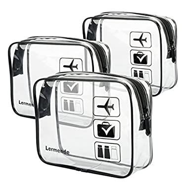 3pcs Lermende TSA Approved Toiletry Bag with Zipper Travel Luggage Pouch Carry On Clear Airport Airline Compliant Bag Travel Cosmetic Makeup Bags - Black