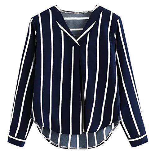 Auifor Damas otoño de Manga Larga con Cuello en V Ocasional de la Camisa Irregular de Copa Rayado