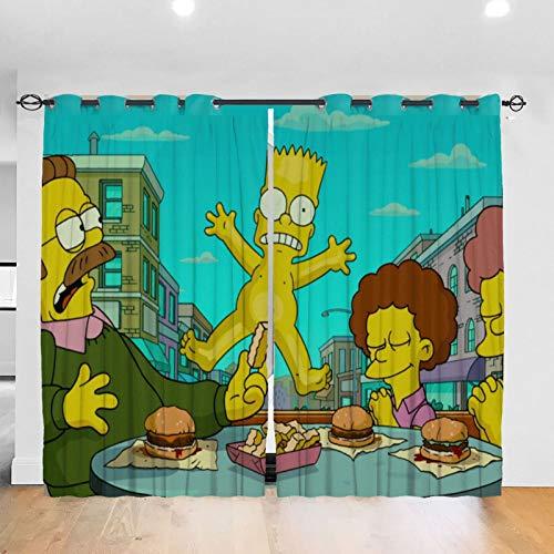 RVEVHGAHHA Simpsons - Cortina opaca con aislamiento térmico y aislamiento acústico, decoración para el hogar para sala de estar, habitación de los niños, 2 paneles de 52 x 72 pulgadas