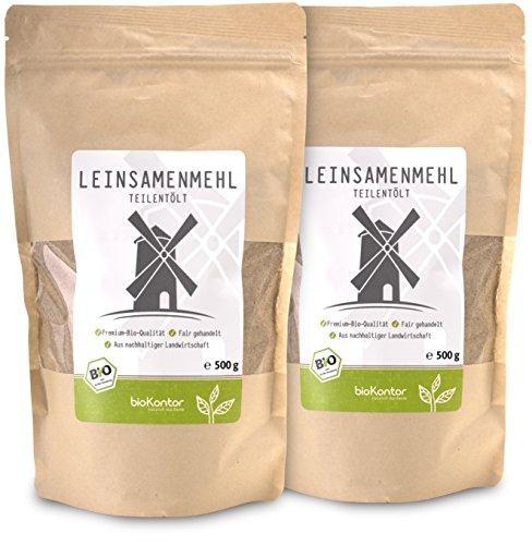 Leinsamenmehl BIO 1 kg (2x 500 g) I Leinmehl - teilentölt I Ballaststoffreich von bioKontor
