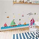 Pegatinas de pared de zócalo de velero de color azul marino globo de aire caliente estrellas pájaros sala de niños decoración de sala calcomanías de zócalo 177 * 50 cm