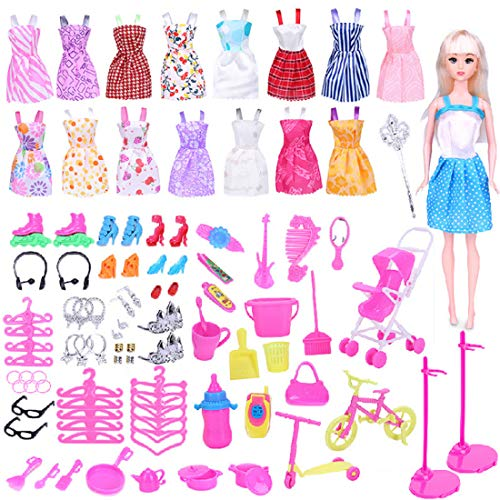 WENTS Clothes Accessories for Doll 114 Pcs Doll Clothes Set for Barbie 16 Pack Clothes Party Gown Outfits for Barbie Dolls 98pcs Dolls Accessories Shoes Bags Necklace Mirror Hanger Tableware
