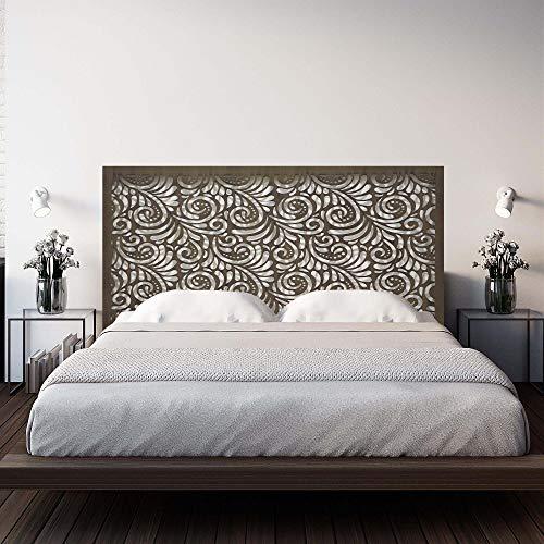Cabecero de cama en madera Calada, para cama de matrimonio o juvenil. Fabricado artesanalmente en España- varios tamaños y colores disponibles. Pintada a Mano- Modelo Mosaico 160 (Nogal, 160x80 cm)