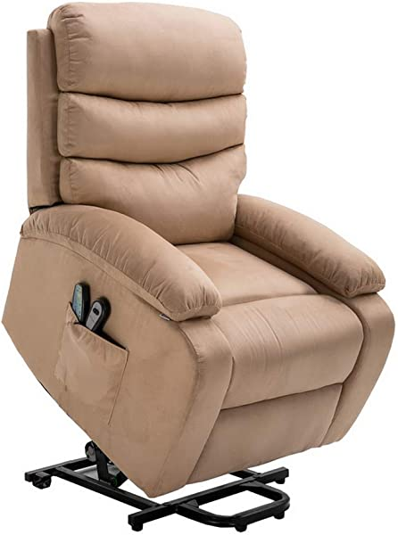 Homegear Microfiber Power Lift Electric Recliner Chair With Massage Heat And Vibration With Remote Taupe