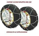 RICAMBIITALIA2017 Catene da Neve 16 mm Adatto per SUV E Fuoristrada Gruppo 490-100 Monta su GOMME 825 R15-825 R16-9.5 R17.5-235/75 R17.5-700 R18-750 R18-8 R19.5-650 R20