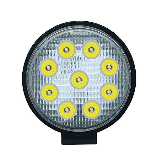 JCMYSH DIRIGIÓ Bombillas de Faros Luz de conducción Blanca Brillante de la luz de inundación para la luz Redonda del Trabajo del Coche/camión/Tractor/ATV / 27W LED para Faros de Coche